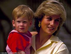 Princess Diana with Prince Harry in 1987 on holiday in Mallorca