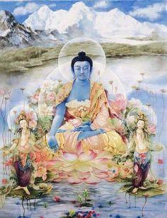 touch the earth — Medicine Buddha- modern art Mahakala Lotus Buddha, Art Buddha, Buddha Kunst, Buddha Painting, Gautama Buddha, Buddha Buddhism, Tibetan Buddhism, Namaste, Tibet
