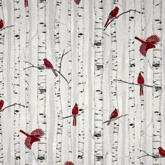 Woodsy Winter Cardinals on Birches- Hoffman Fabrics