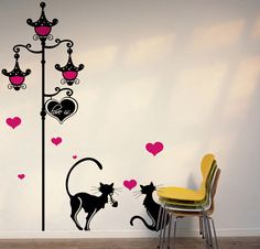 Streetlight and Cats Wall Decal