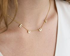 Custom Letter Necklace Personalized Name Necklace Custom Initials Necklace Custom Name Necklace Christmas Gifts by GracePersonalized Letter Necklace, Gold Necklace, Monogram Necklace, Personalized Necklace, Personalized Gifts, Collar Rosa, Custom Name Necklace, Necklace With Name, Accesorios Casual