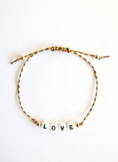 Personalized Handmade Bracelet - Multi colour satin cord + Black on white alphabet design + Rose gold beads - Loving Memento
