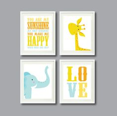 You Are My Sunshine-Set of Four Art Prints-11x14-Kids Room-Nursery-Home Decor-Orange-Yellow-Blue-White-Giraffe-Elephant-Love-Modern Wall Art...