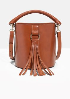 Other Stories image 1 of Tassel Bucket Bag in Cognac