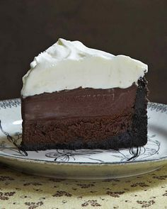 """Layers of crumbly cookie crust, rich chocolate cake, and creamy pudding make this Mississippi mud pie from Matt Lewis's """"Baked Explorations"""" cookbook the ultimate indulgence for chocolate lovers."""