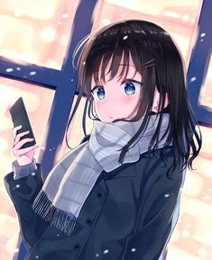 Anime girl on phone