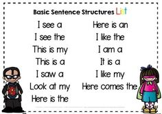 FRee basic sentence starters for Pre-K and Kindergarten - emergent readers and writers free center idea. 1st Grade Writing, Kindergarten Literacy, Teaching Writing, Writing Activities, Language Activities, Educational Activities, Teaching Resources, Teaching Ideas, Writing Strategies