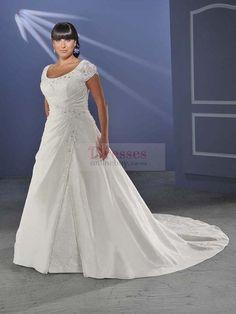 A-line Scoop Beading Short Court Trains Taffeta Wedding Dresses
