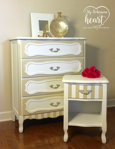 French Provincial Chest & Nightstand  Annie Sloan Chalk Paint Pure White & Old Ocher