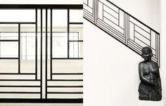 Anne Derasse designer, black metal railing detail