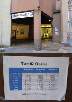Parking garage in Milan city centre next to Duomo
