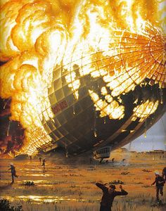 Hindenburg disaster in 1937.  Was an airship from Germany that caught on fire, crashing in New Jersey.  Because the incident caused for many to lose faith in airships, the disaster marked the end of the era of airships.