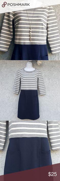 "GAP Adorable Midi Dress NWOT 3/4 sleeve dress by GAP.  Ployester blend - super soft.  'Hidden' side zipper.  17"" chest (armpit to armpit), approx 34.5"" length, 18"" sleeves.  Gray & white stripe on top, navy blue on bottom.  2 front pockets...super cute!!  Make an offer or bundle!! GAP Dresses Midi"