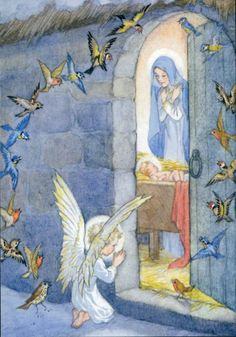 An angel and a flock of birds pray outside for the baby jesus, newly born in a manger. Illustration by Molly Brett. Religious Pictures, Religious Icons, Religious Art, Christmas Scenes, Christmas Nativity, Christmas Angels, Vintage Christmas Cards, Vintage Cards, Blessed Mother Mary