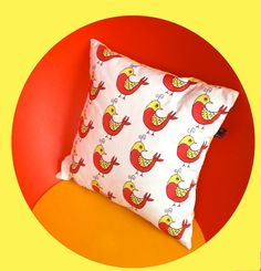Pillow made out of OISEAU fabric by Wesna Wilson