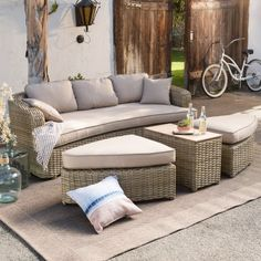 Belham Living Wingate All Weather Wicker/Resin Wood Patio Conversation Set