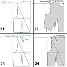 Back bodice finishing steps - Make a bodice pattern - bodice drafting - Melly Sews
