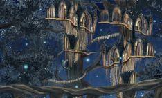 Case sugli alberi a Lothlorien, reame degli Elfi ne Il Signore degli Anelli in un disegno