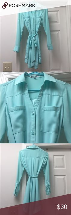 Express portofino dress! Size XS. Super cute! Most sought after dress at express! Express portofino dress! Size XS! Cute and comfortable. Color is like a light turquoise. Worn one time for Easter! Express Dresses
