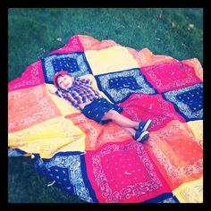 Bandana Quilt, I like the diagonal direction.  Would be fun in lime green, electric blue, and orange for a boy
