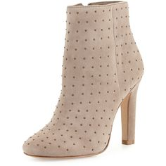 Joie Hachiro Mini-Stud Ankle Boot (€375) ❤ liked on Polyvore featuring shoes, boots, ankle booties, grey, suede ankle boots, gray booties, grey suede boots, suede boots and gray ankle boots