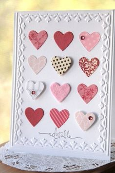 Another great use for paper scraps! Heart inchies all lined up in a row with an elegant embossed border. Add some bling dots to some of the hearts and pop them up with foam tape for an easy handmade valentine's card. Valentine Love Cards, Valentine Day Crafts, Valentines, Valentine Ideas, Tarjetas Diy, Creative Cards, Anniversary Cards, Greeting Cards Handmade, Homemade Cards