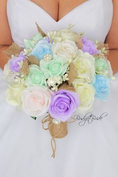 pastel wedding flowers lavender burlap rustic birdes bouquet bridal ideas mint g. Pink Green Wedding, Spring Wedding Flowers, Wedding Colors, Wedding Ideas, Rustic Wedding, Green Weddings, Wedding Themes, Trendy Wedding, Pastel Roses