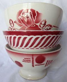 Bol ancien (X3) faïence ancienne de Digoin Sarreguemines Badonviller rouge rose
