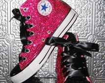 rhinestone converse all star high tops with ribbon laces