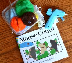 Mouse Count-Read the book, make mice, hunt for them and count them. Math and Literacy. Creative Connections for Kids Preschool Literacy, Preschool Books, Literacy Activities, Kindergarten Math, Preschool Crafts, Kids Math, Counting Activities, Preschool Ideas, Teaching Ideas