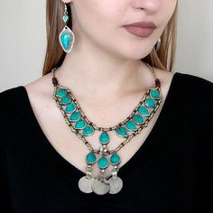 Afghan turquoise  necklace, Old coin necklace, Tribal jewelry, Bohemian jewelry, Vintage necklace, V-neck necklace, Turkmen ethnics