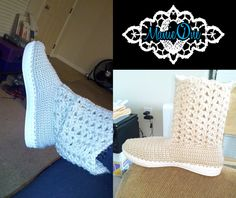 Manie One Crochet Boots! Stitched onto a solid rubber sole so you can hit the streets in these boots, and they are made to order in virtually any color!