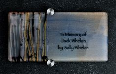 Donor Recognition Plaque - Fused and hand-painted glass with bronze and black ribbons on blue color palette (full view).