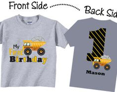 1st Birthday Shirts with Dump Truck for Boys Tees