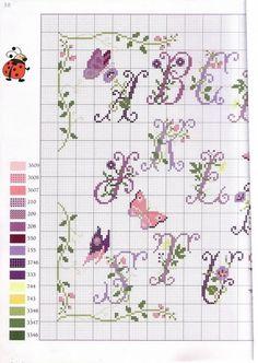 alphabet with butterflies Cross Stitch Alphabet Patterns, Embroidery Alphabet, Blackwork Embroidery, Cross Stitch Letters, Mini Cross Stitch, Cross Stitch Samplers, Embroidery Fonts, Cross Stitch Charts, Cross Stitch Designs