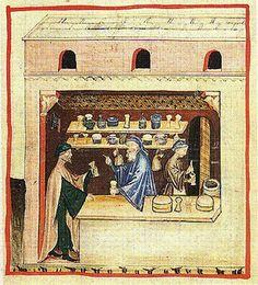 1400 Apothecary shops were illustrated in manuscripts. Theriac shop, Vienna Tacuinum sanitatis, fol 53v.
