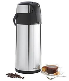 VonShef Thermal Airpot Carafe Coffee Beverage Dispenser Stainless Steel, Large 5 Liter or 170 fl oz Capacity Coffee Dispenser, Drink Dispenser, Water Dispenser, Stainless Steel French Press, Brushed Stainless Steel, Fresh Ground Coffee, Hot Cocoa Bar, Coffee Filters, Coffee Machine