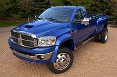 nice blue lifted dodge ram truck