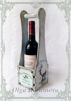 Wood Wine Racks, Decoupage Furniture, Scrap Wood Projects, Painted Wine Bottles, Handmade Table, Bottle Box, Decoupage Vintage, Wooden Crafts, Craft Storage