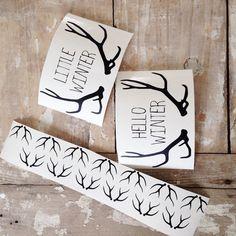 Lot 1 planche bois de cerf et 1 sticker hello wiinter ou Little wiinter  - objets déco - Little paper  - Fait Maison