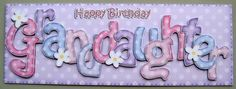 Card Gallery - Large DL Birthday GRANDDAUGHTER Dots & Flowers 3D decoupage