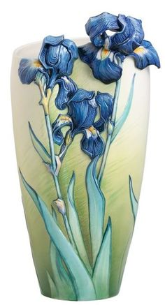 Our breathtaking Van Gogh Iris Flower Porcelain Vase by the artisans of Franz Collection pays colorful tribute to the work of a truly iconic artist. Art Nouveau, Iris Flowers, Flower Vases, Glass Ceramic, Ceramic Art, Modernisme, Ceramic Flowers, Porcelain Vase, Fine Porcelain