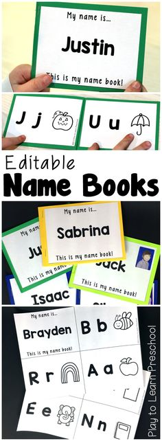 "Create a ""quiet bin/busy box"" for each student. with ONLY name activities. Include this book in the box! Young children LOVE these books that have the letters of their names on each page. They are so easy to print! Kindergarten Names, Preschool Names, Preschool Literacy, Zoo Phonics, Emergent Literacy, Preschool Alphabet, Preschool Education, Letter Activities, Learning Activities"