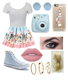 """""""Alice in wonderland"""" by nikkisfashion273 on Polyvore featuring Monnalisa, WithChic, Converse, Casetify, Fujifilm, Lime Crime and Sunday Somewhere"""