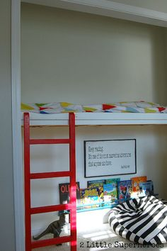 Need to do this with my kids closet. Extra bed and play space! #closetnook