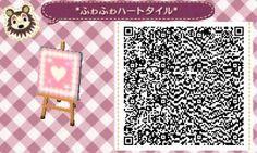 *ふゎふゎハートタイル*【雪道用】Pink Heart Pattern Animal Crossing New Leaf Qr Code