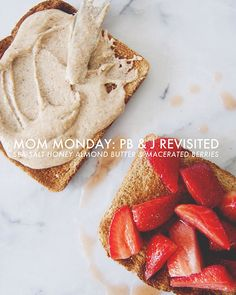 Sea Salt Honey Almond Butter And Macerated Berries: A Twist On Pb+J // Mom Monday paleofied with honey instead of agave I Love Food, Good Food, Yummy Food, Tasty, Honey Almonds, Menu, Cupcakes, Almond Butter, Food Inspiration