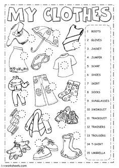 30 รูปภาพที่ยอดเยี่ยมที่สุดในบอร์ด clothes worksheet