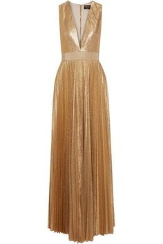Described by the brand as a 'sunburst' gown, Alice + Olivia's 'Carisa' style is made from shimmering gold plissé-crepe. It has a plunging neckline and grosgrain band that nips you in at the waist. Wear it with statement earrings and sandals.