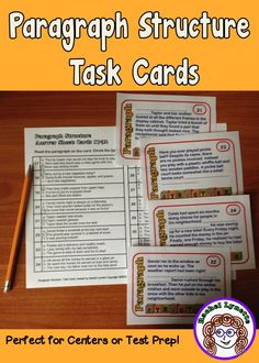 Paragraph Structures Task Cards - These will really help your students to learn what goes in a paragraph and where it should go. Differentiate with two response sheets - multiple choice for beginners and short answer for more advanced students. $